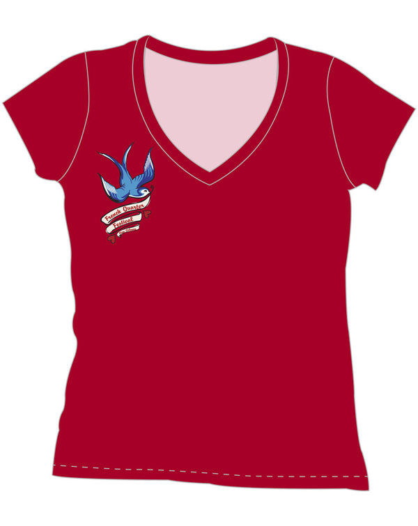 FQF Ladies' Red V-Neck Swallow Shirt