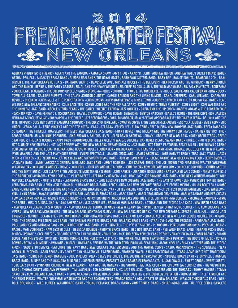 2014 French Quarter Festival Lineup T-Shirt