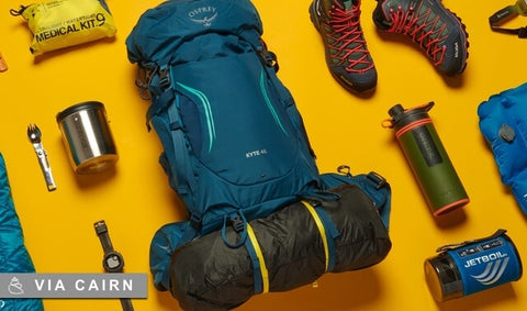 Spread of backpacking gear