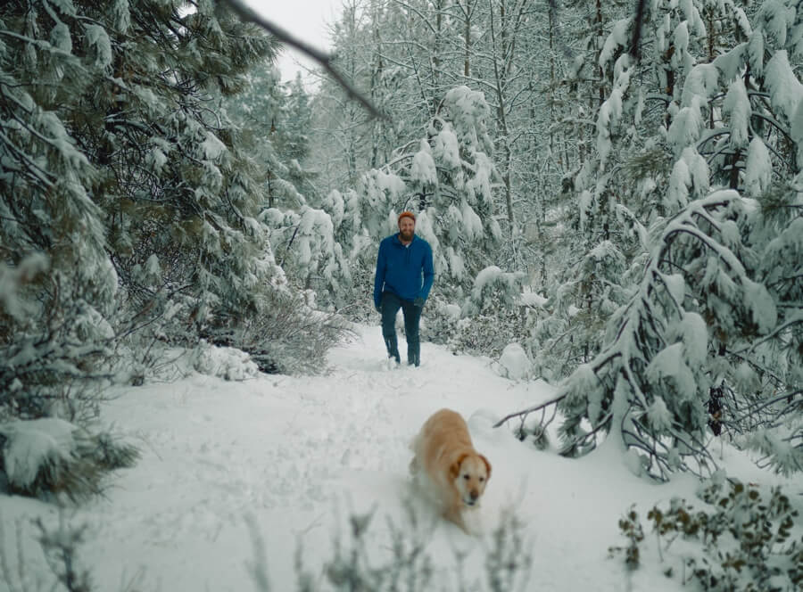 Hiking in the snow with a dog