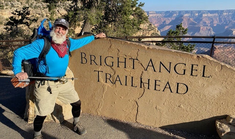 Hiker with white beard at Bright Angel Trailhead