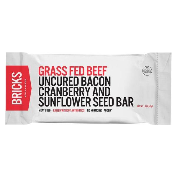 Grass Fed Beef Uncured Bacon Cranberry and Sunflower Seed Bar