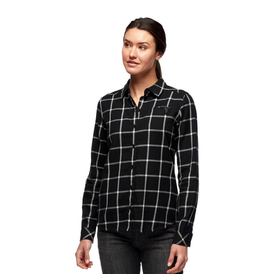 W's Serenity Flannel Shirt - Black-Alloy Plaid
