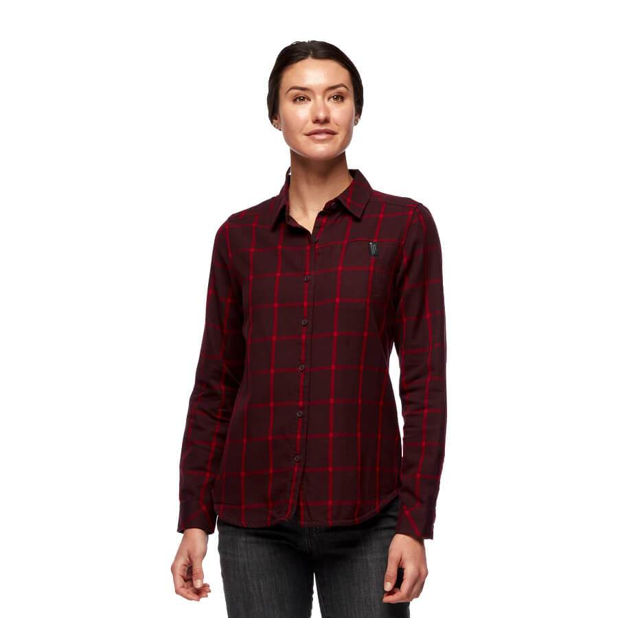 W's Serenity Flannel Shirt - Bordeaux-Vermilion Plaid