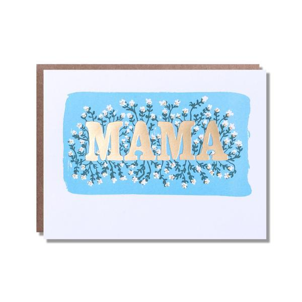Mama gold floral card