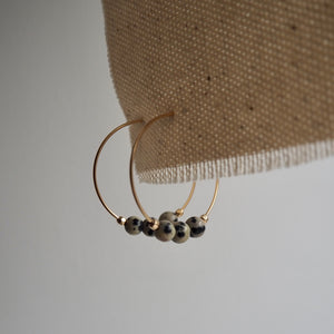 Dalmation Jasper gold hoop earrings