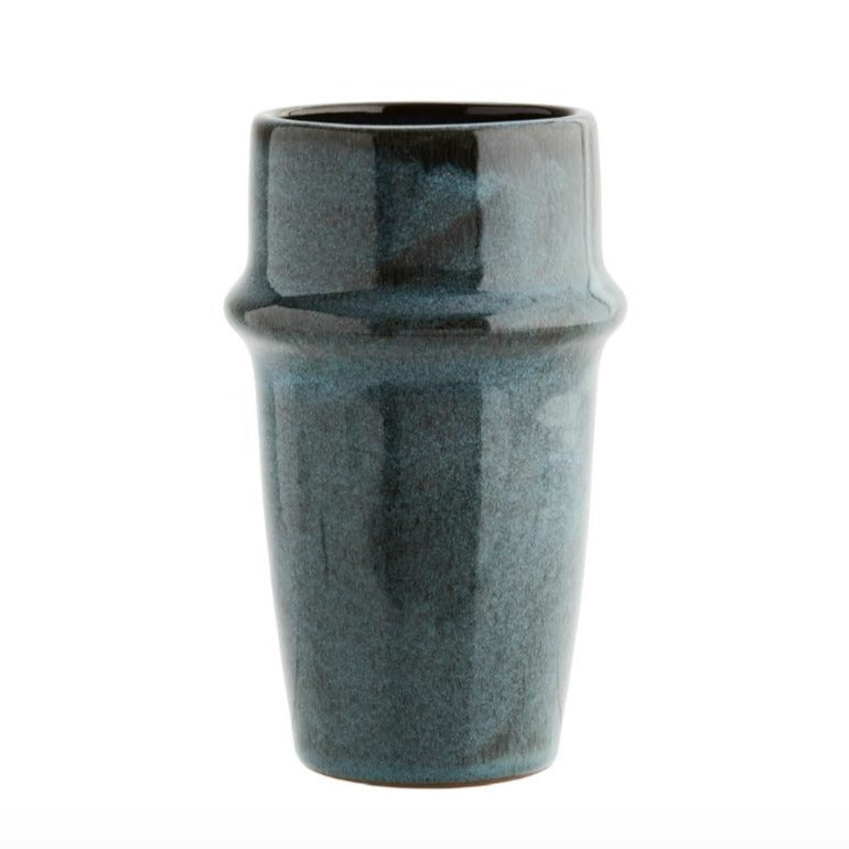 Madam Stoltz stoneware cup blue and brown