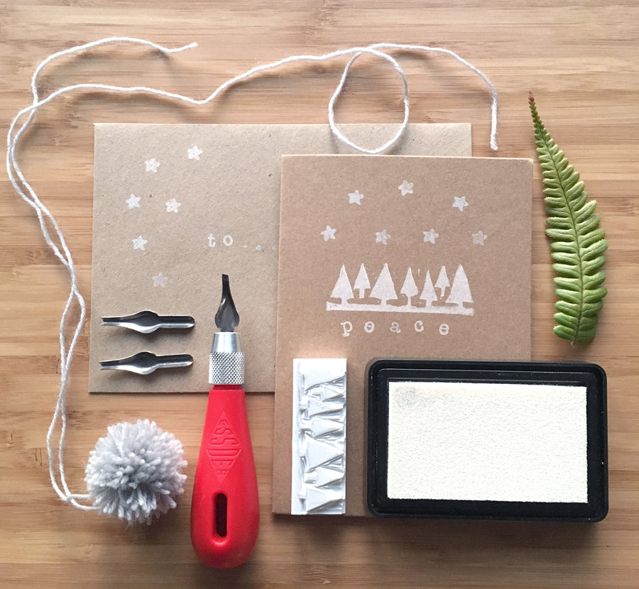 Hand printed Christmas stationary workshop