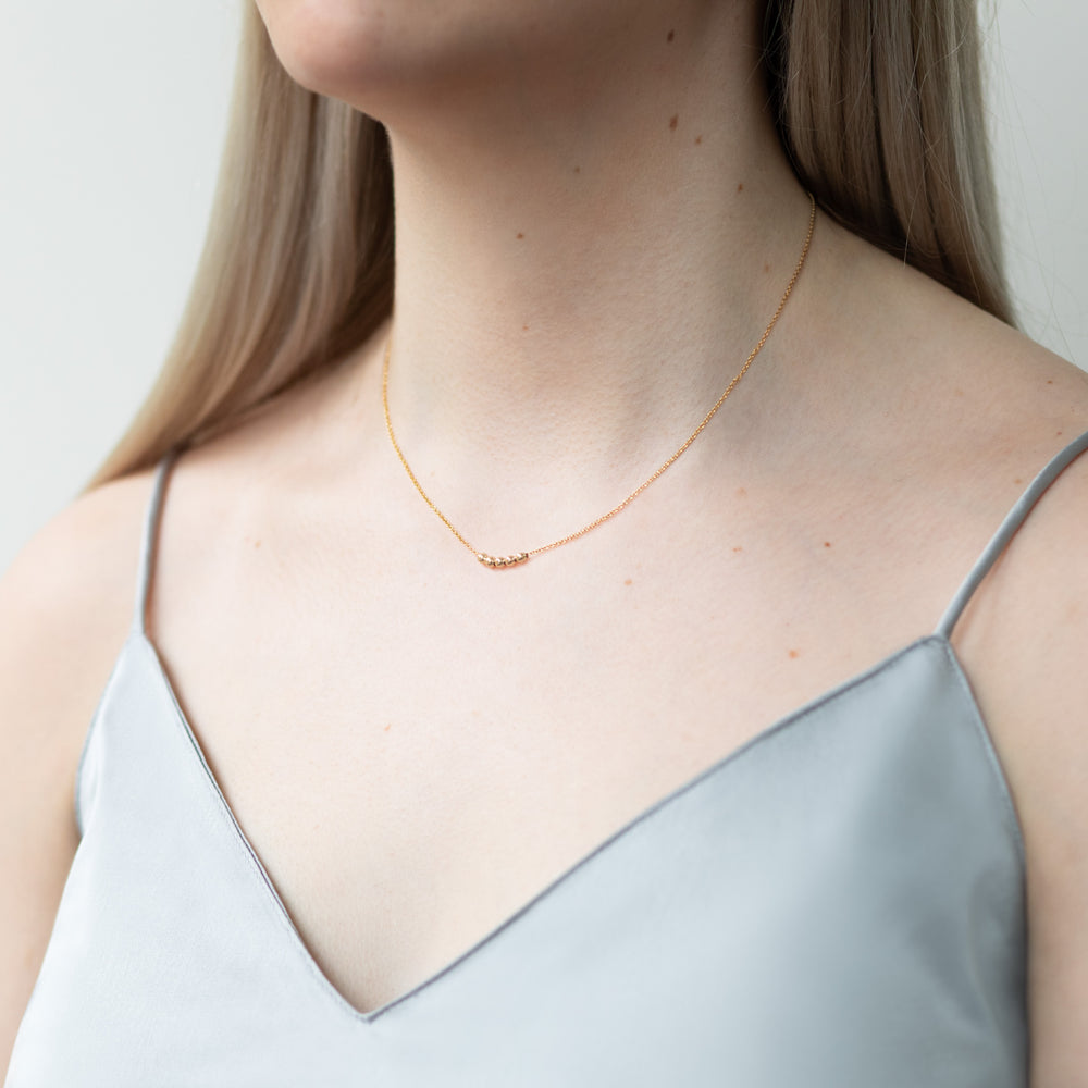 Spheres necklace, silver & rose gold