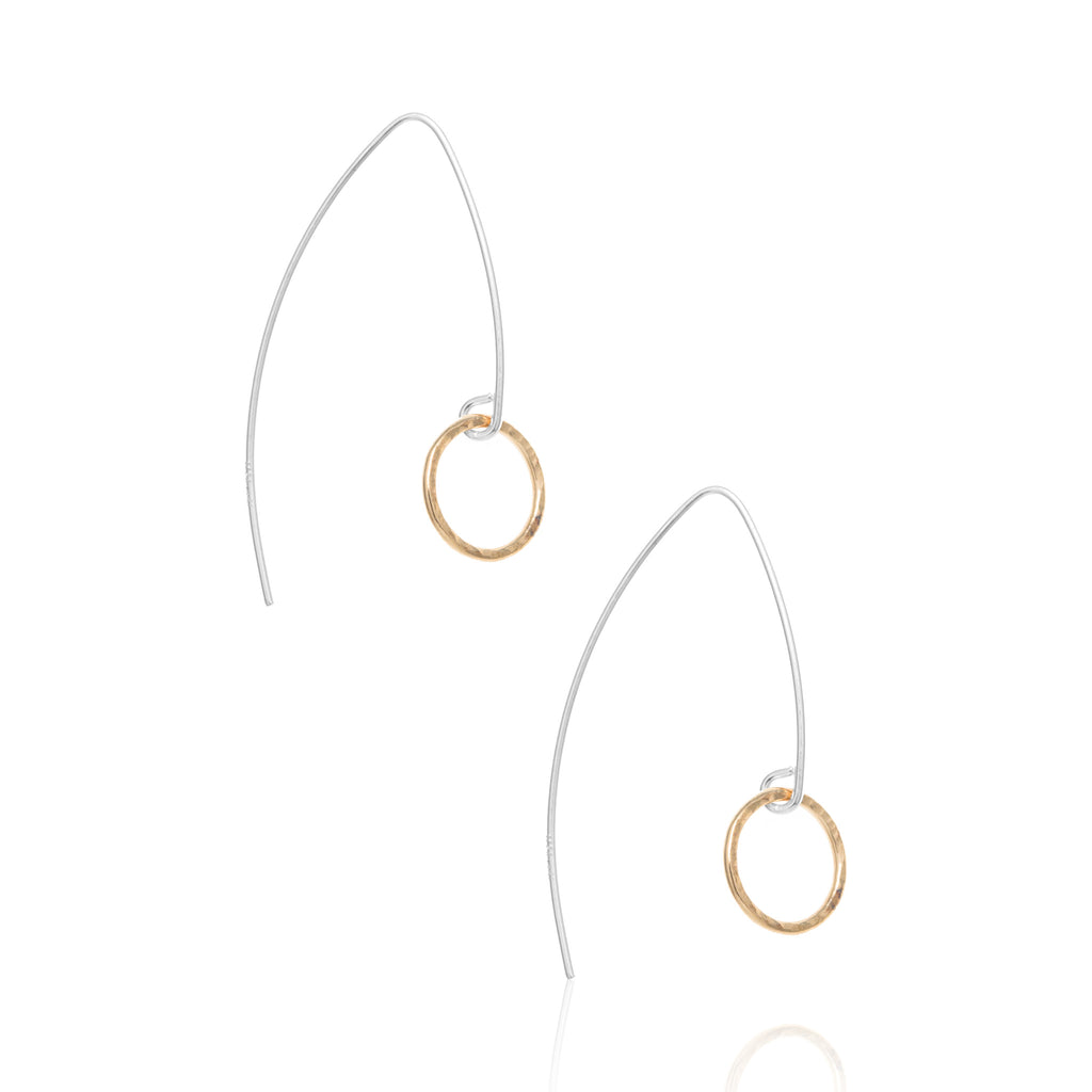 Arrow drop earrings, silver & gold