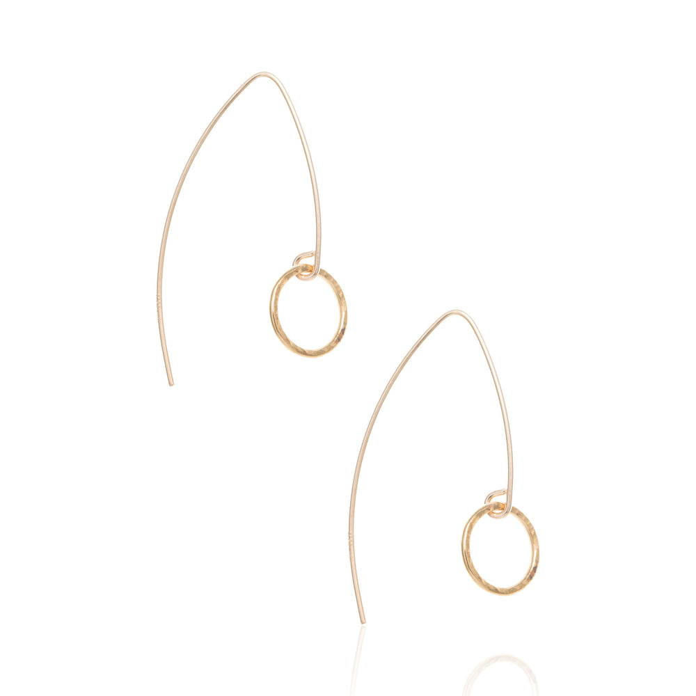 Arrow drop earrings, gold