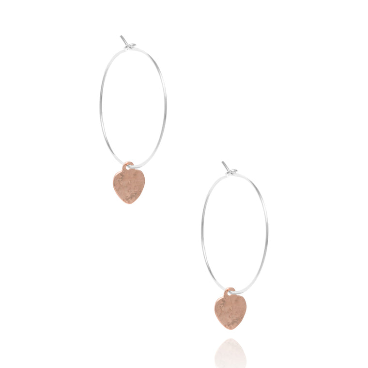 Heart hoop earrings, silver & rose gold