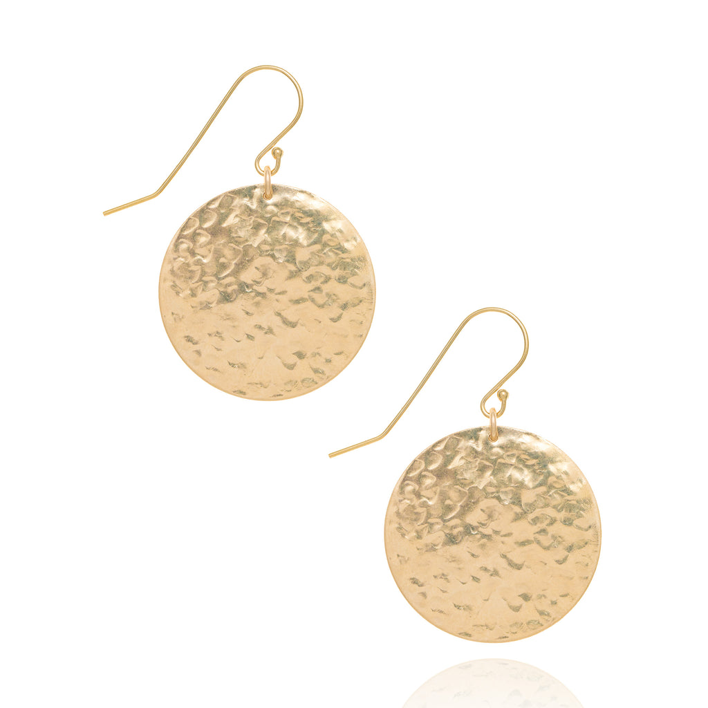 Large radiance coin earrings, gold
