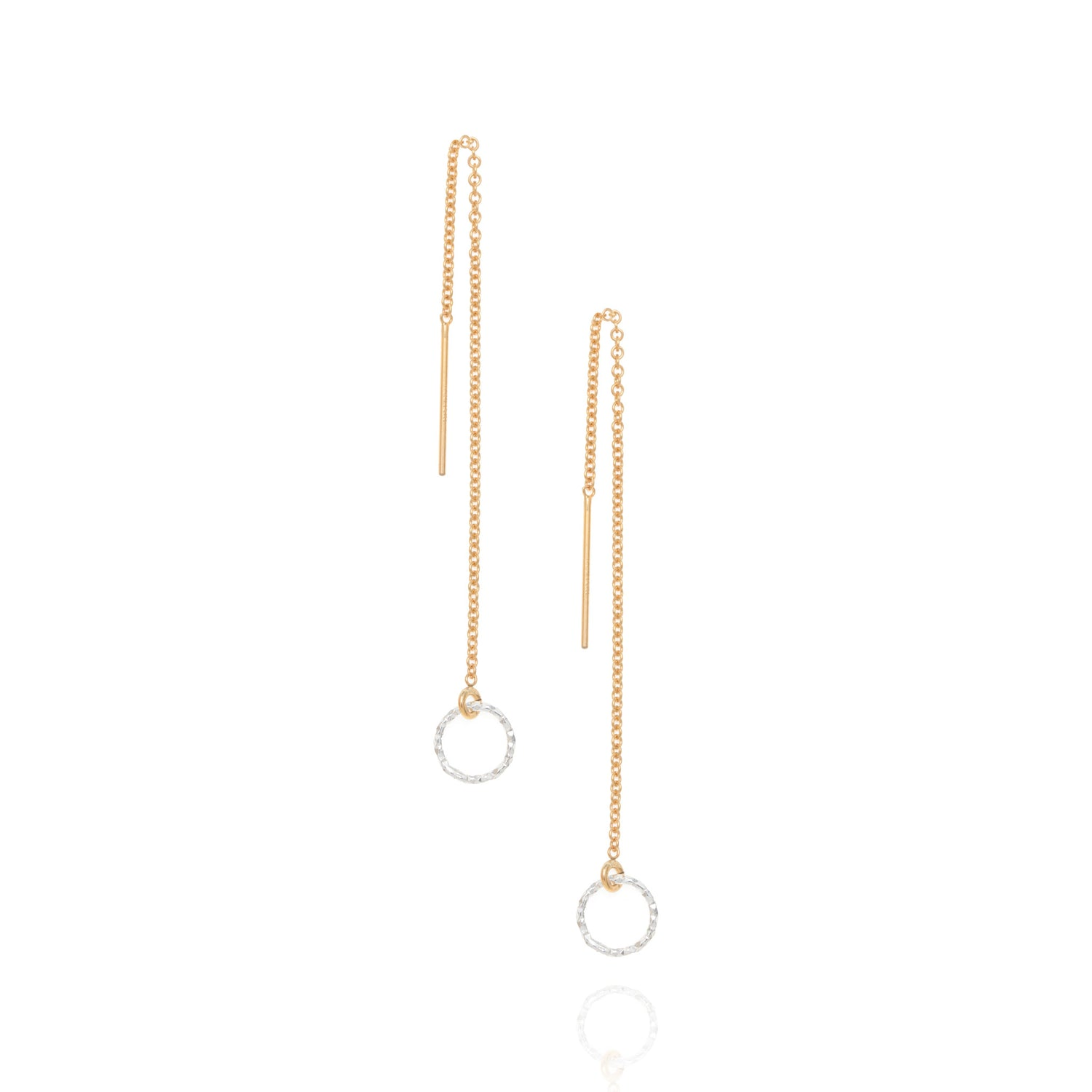 Halo drop earrings, gold & silver