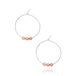 Spheres hoop earrings silver & rose