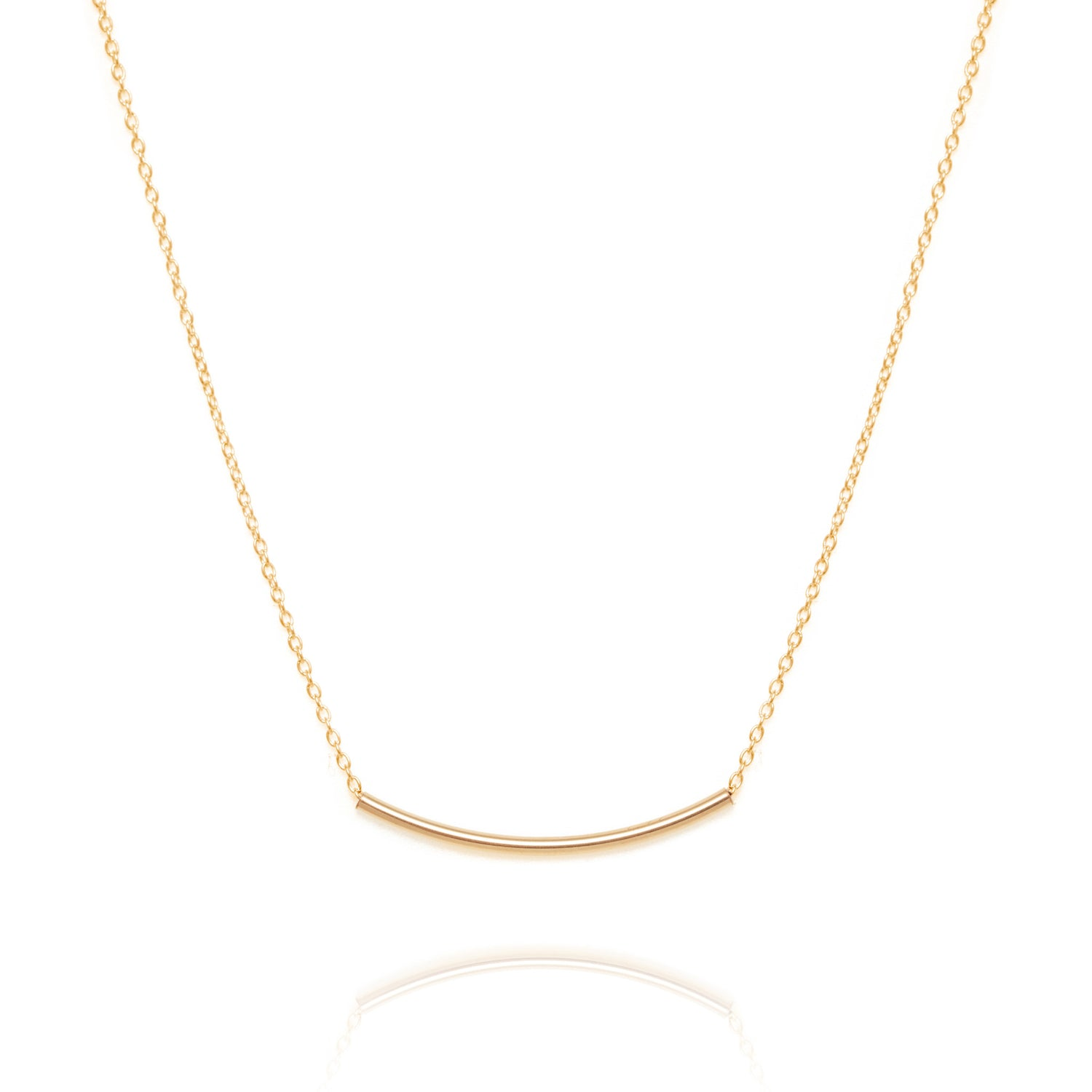 Curved bar necklace, gold