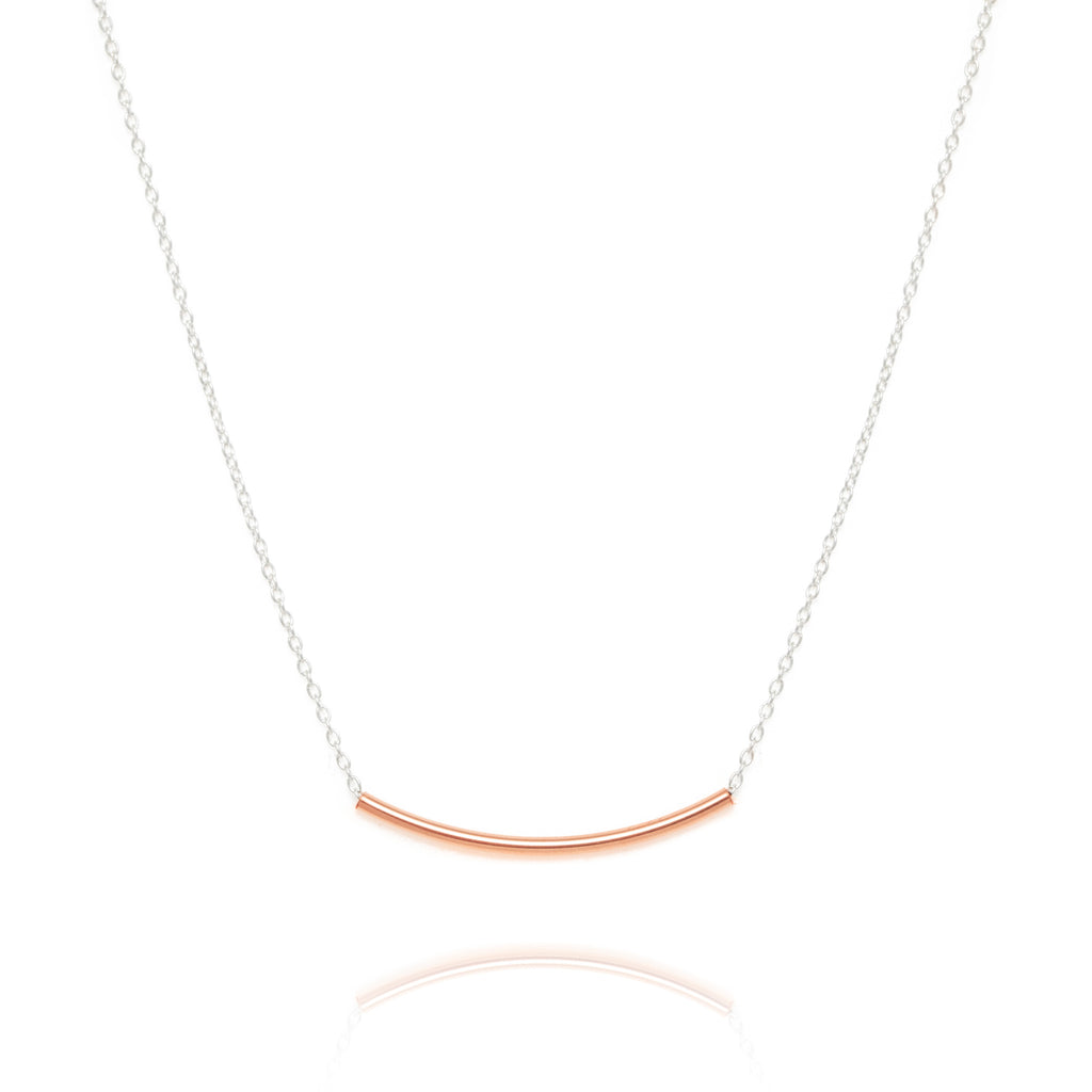 Curved bar necklace, silver & rose gold
