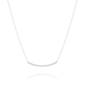 Curved bar necklace, silver