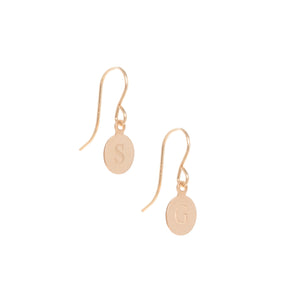 Heritage initial earrings, gold