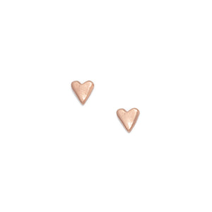 Heart stud earrings, rose gold