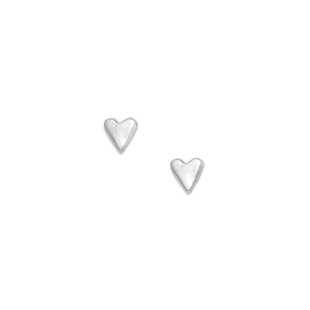 Heart stud earrings, silver