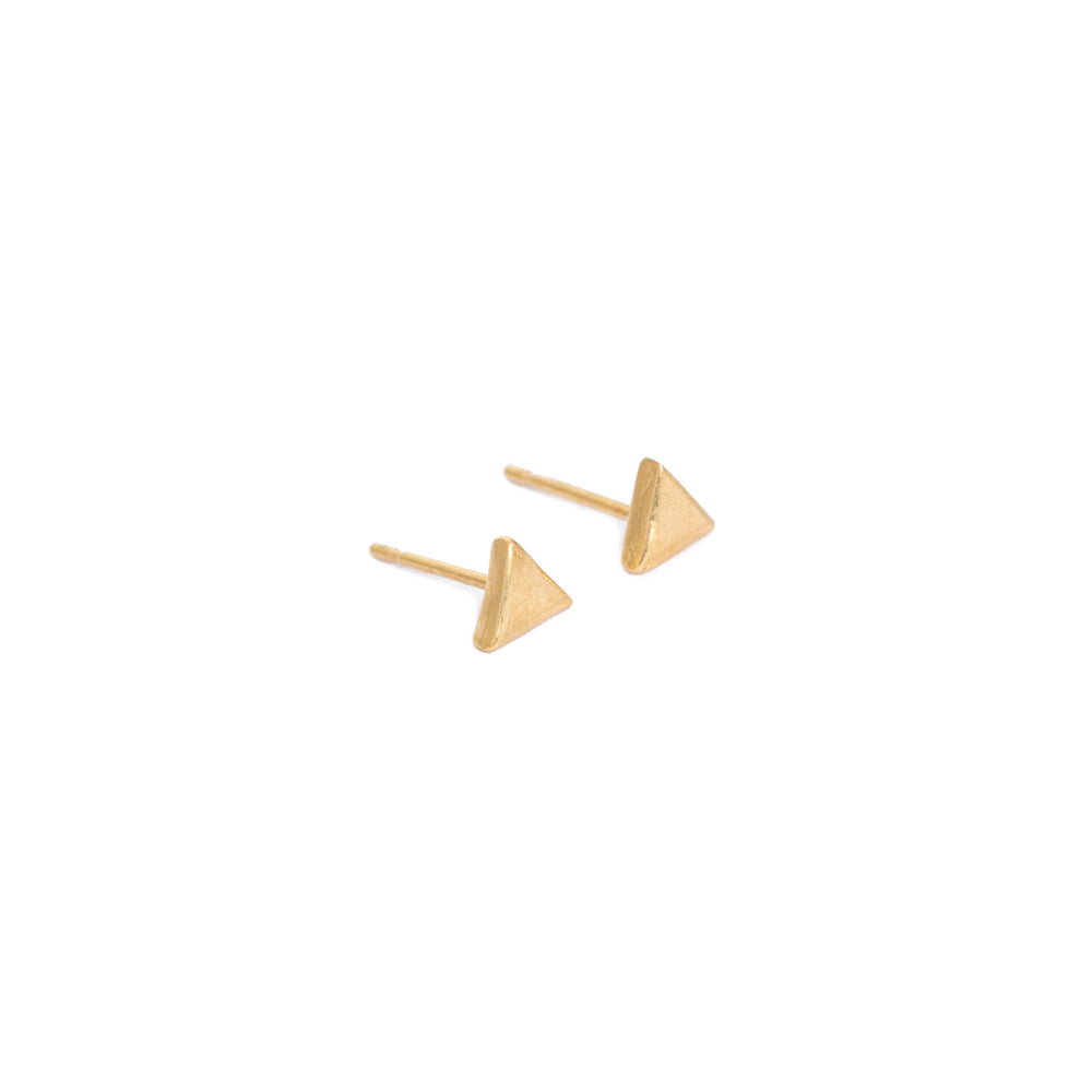Triangle stud earrings, gold