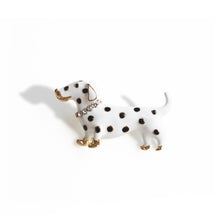 Load image into Gallery viewer, Enamel and Crystal-embellished Polka dots Dalmatian Dog Brooch