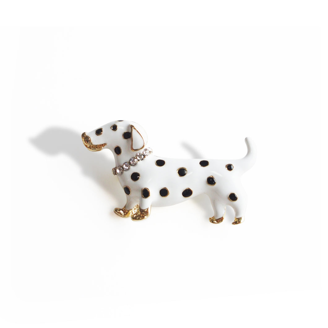 Enamel and Crystal-embellished Polka dots Dalmatian Dog Brooch