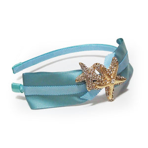 Bartolo Ocean of Dreams Crystals Seastar Starfish Embellished Satin Headband