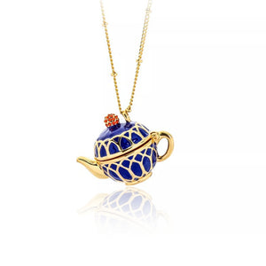 Enamel Stacked Teacups Pendant Statement Necklace