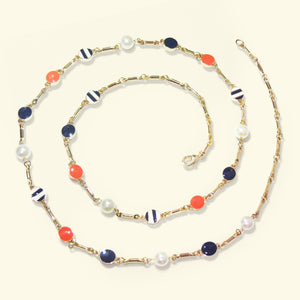 Gold-tone Pearls and Enamel Discs Sun Kissed Shimmer Link Necklace
