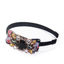 Load image into Gallery viewer, Crystal-embellished Floral-print Bow-appliquèd Satin Headband
