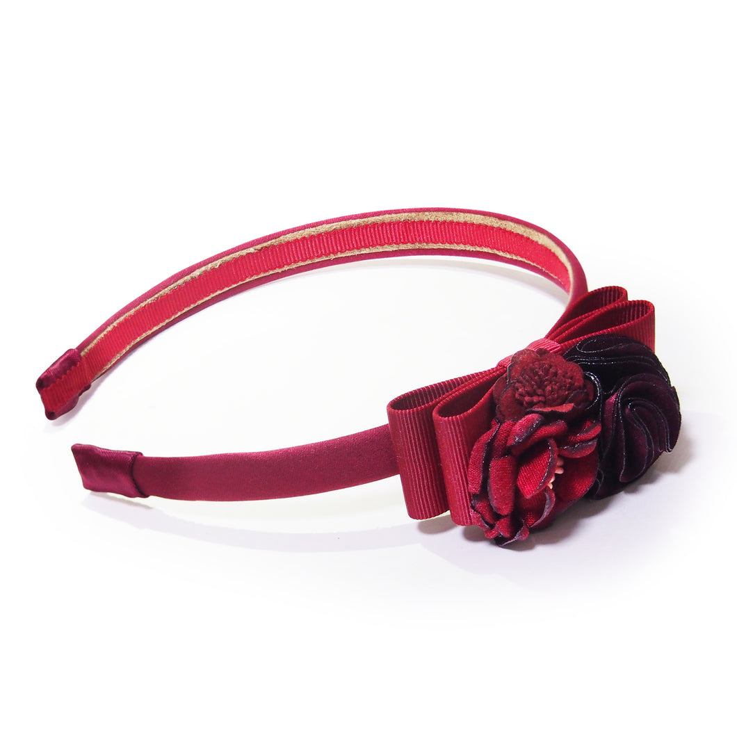 Floral-appliquéd and Grosgrain Bow Headband
