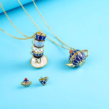 Load image into Gallery viewer, Enamel Stacked Teacups Pendant Statement Necklace