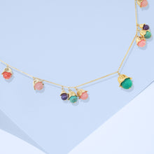 Load image into Gallery viewer, The Tulip, a powerful gift offered throughout the world to signify love and desire. Add color and sparkle to smart or casual looks with the refined multi epoxy resin beads with gold-tone environment zinc alloy petals link necklace.