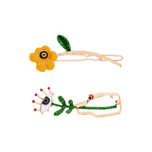 Load image into Gallery viewer, Enamel Evil Eye Brooch and Floral Barrette Set