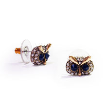 Load image into Gallery viewer, Antique Gold-tone Pair of Owl with Crystal Eyes Stud Earrings  The owl is the wisdom, spiritual and intellectual animal with emblematic of a deep connection with wisdom of the soul. These playful and lovely owls' earrings made from zinc alloy and crystals, these would be a wonderful addition to any of your daily wardrobe.