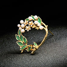 Load image into Gallery viewer, Enamel Leaves with Floral Barrette