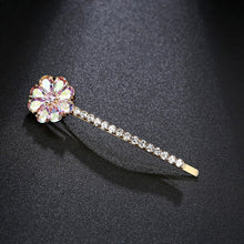 Load image into Gallery viewer, Romantic Rainbow Pear-cut Cubic Zirconia Floral Hair Clip