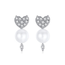 Load image into Gallery viewer, Romantic and Petite Sweetheart and Faux Pearl Stud Earrings
