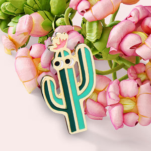 Calling all cacti collectors. Here's another one for you. Made from the highest quality hard enamel, detailed with gold colored metal, this smooth pin will fit perfectly on your lapel.