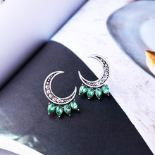 Load image into Gallery viewer, Crystal-embellished Magical Half Moon Stud Earrings