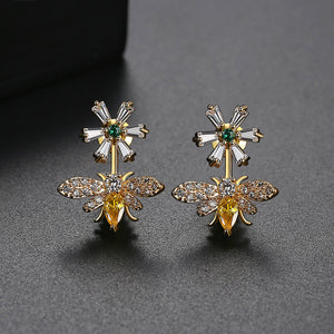 Multicolored Cubic Zirconia Honeybee Earrings