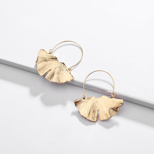 Minimal Leaf Hoop Earrings