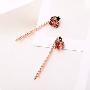 Rose Gold-tone Crystal Ladybug Hair Slides Set of 2