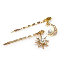 Load image into Gallery viewer, Crescent Crystal Moon and Celestial Venus Symbolic Star Set of 2 Hair Slides