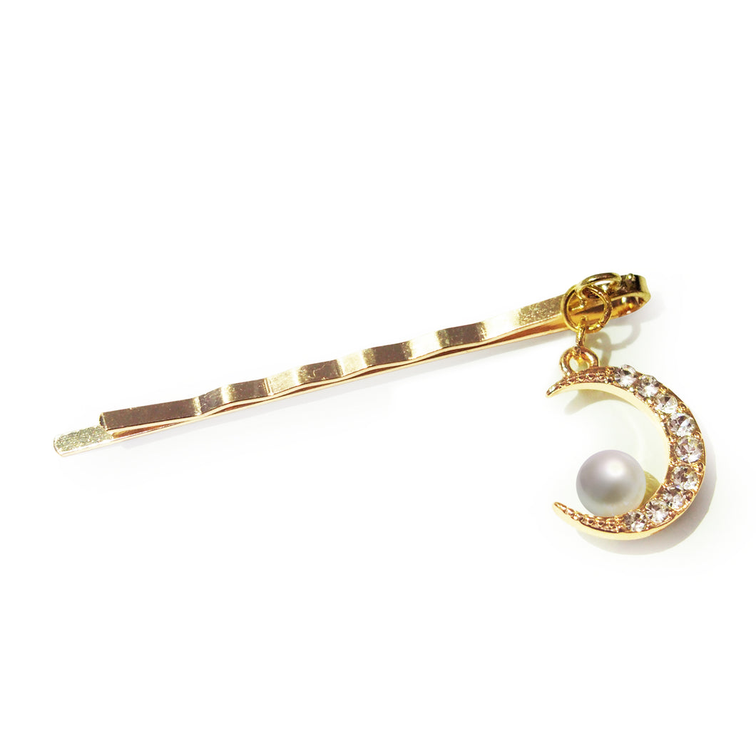 Crescent Moon Crystal and Faux Pearl Gold-tone Hair Clip