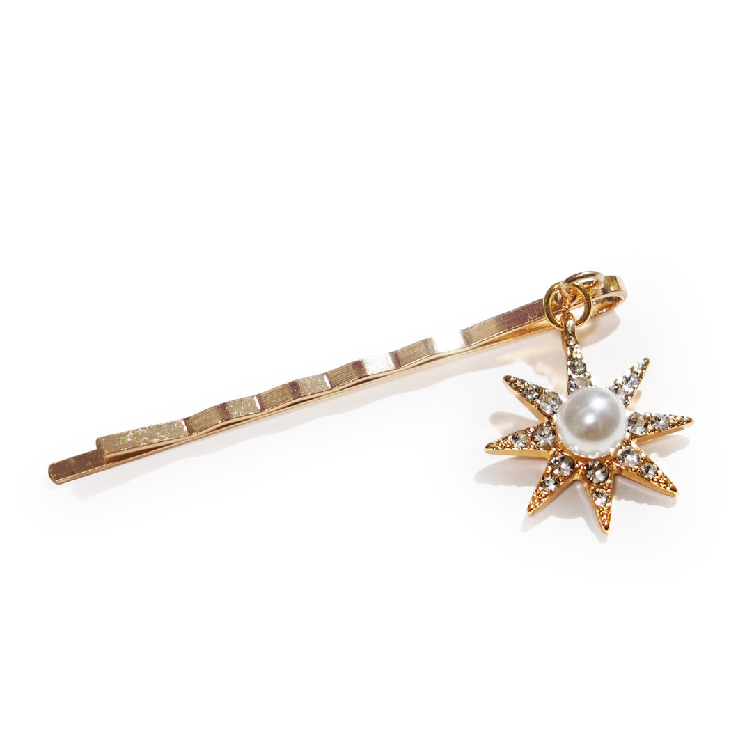 Celestial Venus Symbolic Star Gold-tone Faux Pearl and Crystal Hair Slide