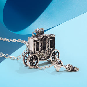 Inspiration from the fairy tale Cinderella, this fanciful style showcases a sculpted lovely carriage and shoe completed with refine details and encrusted with crystals.  Give the gift of inspiration, and remind the little Princess in your life, that dreams really can come true.