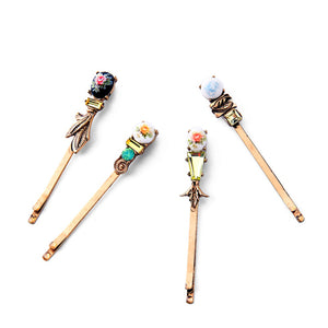 Set of 4 Folklore and Slovak Style Antique-gold Tone Hair Slides